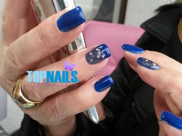 Acrylic Nails with permanent blue enamel