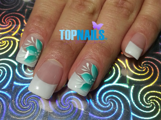 Acrylic Nails French and designs flowery