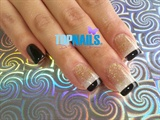 Acrylic Nails French and Golden Glitter