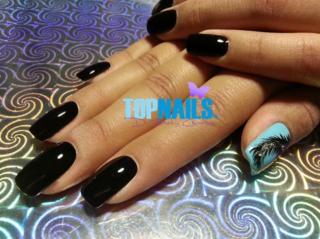 Acrylic nails with enamel and Swarovski