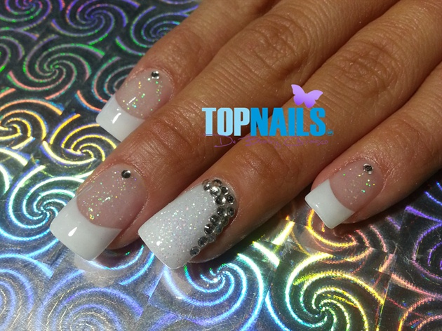 Acrylic nails with Glitter and Swarovski