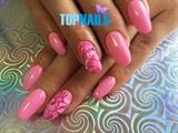 Acrylic Nails with permanent rose enamel