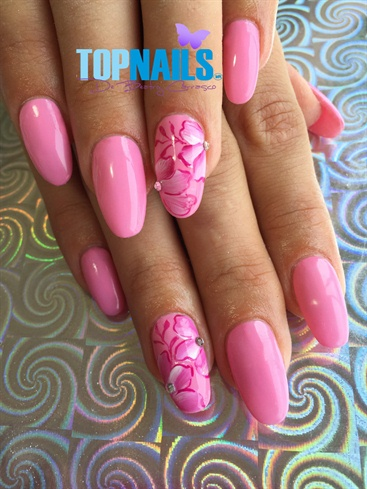 Acrylic Nails with permanent rose enamel
