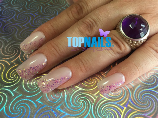 Acrylic nails decorated Glitter Gel