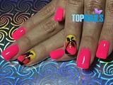 Acrylic Nails enamel design tropical💅