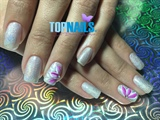 Acrylic Nails glitter and designs flower