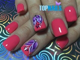 Acrylic Nails enamel, Floral designs