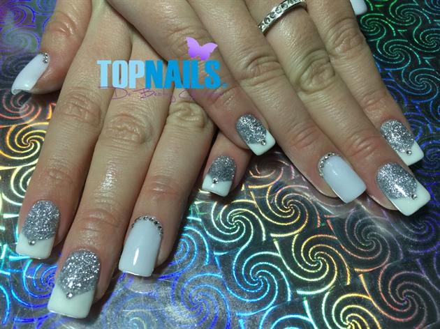Acrylic Nails Glitter Silver and Swarovs