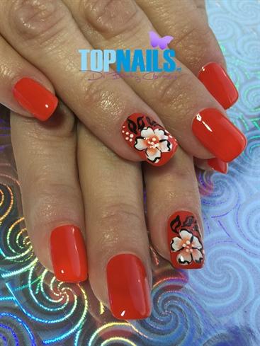 Acrylic Nails enamel andFloral designs