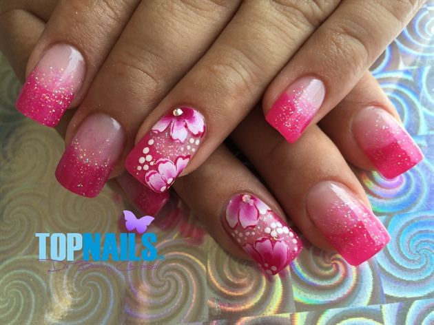 Acrylic Nails French with Glitter flower