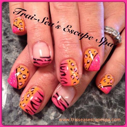 Neon pink orange zebra leopard nail art gallery neon pink amp orange zebra amp leopard prinsesfo Image collections