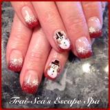 Hand Painted Snowmen & Glitter Tips