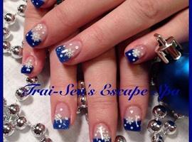 nail art: Winter Blue & Snowflakes