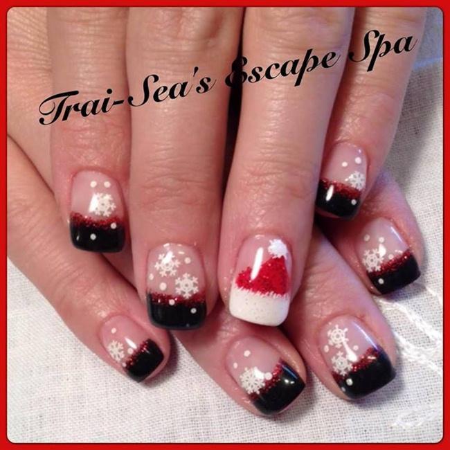 Black with Red Sparkle & Santa Hat - Nail Art Gallery Santa Hat Nail Art Photos
