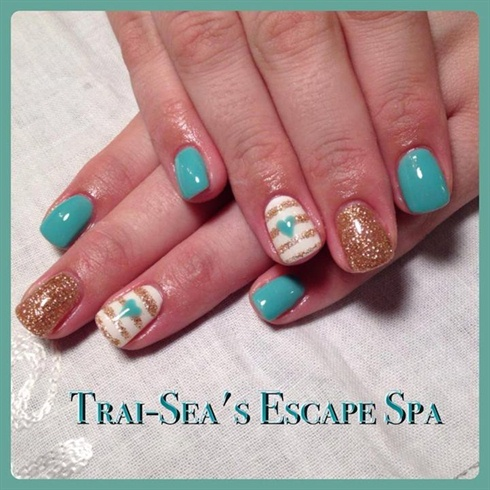 light blue  gold  nail art gallery