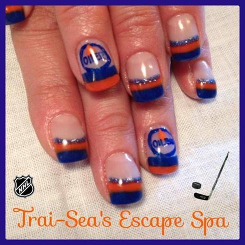 Edmonton Oilers Colors Logo Nail Art Gallery