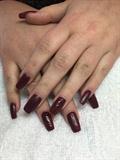 Burgundy Coffin Matte Gel Nails