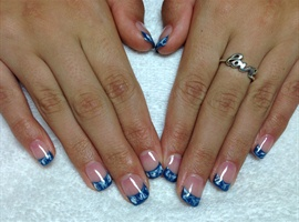 Blue Swirly French Tip