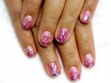 Pink Confetti Nail Art