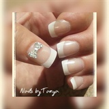 French tip 3d bow crystals
