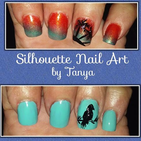Silhouette nail art bird palm trees