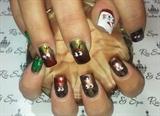 Christmas Santa reindeer nail art