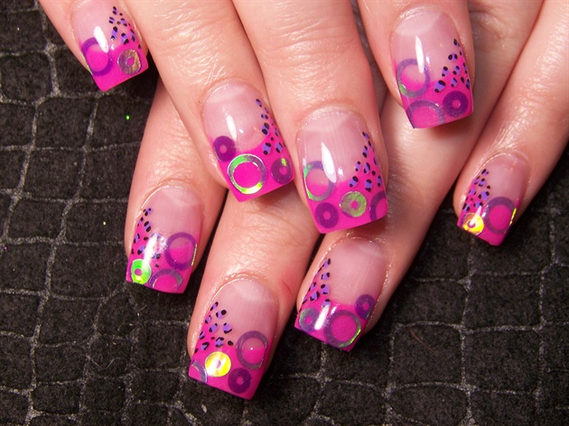 Katie's pink with purple circles & cheet