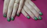 Прочее - Виды дизайна ногтей - зелёные щупальцы.