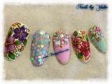 Handpainted Flowers, stones, & holograms