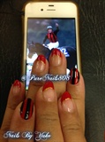 Red and Black Jocky Nail Design