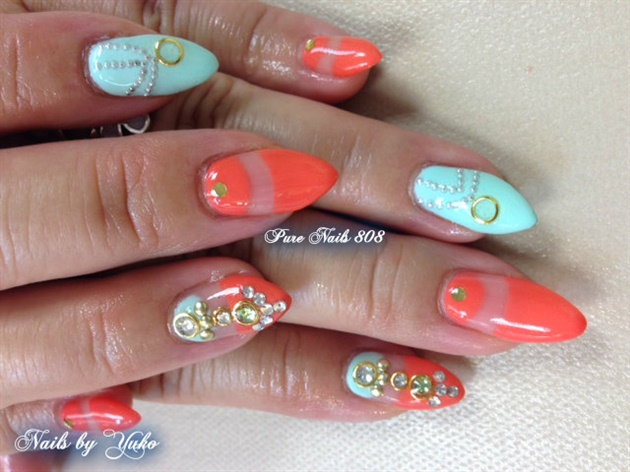 Blue & Orange Summer nails