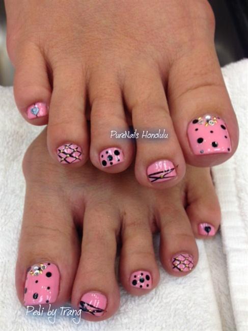 Pink Pedicure - Nail Art Gallery