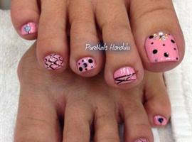 nail art: Pink Pedicure