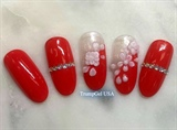 Red 3D Flower Nails