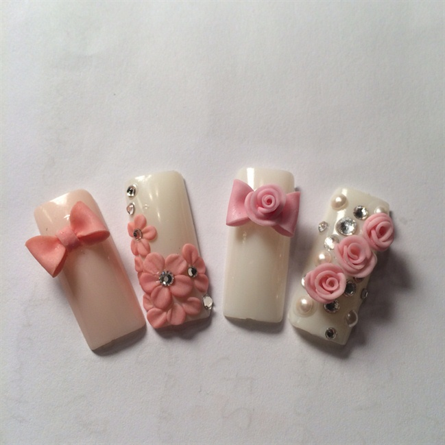 3d Rose And Bow Nails Design Nail Art Gallery