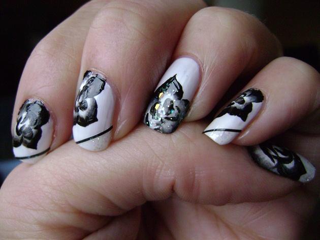Black White Rose Nail Art Gallery