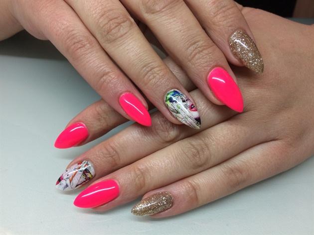 Neon Pink Glitter Nail Wrap Nail Art Gallery