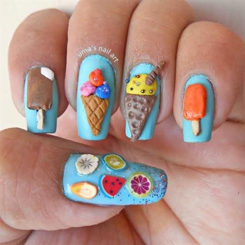 3D ice cream nails