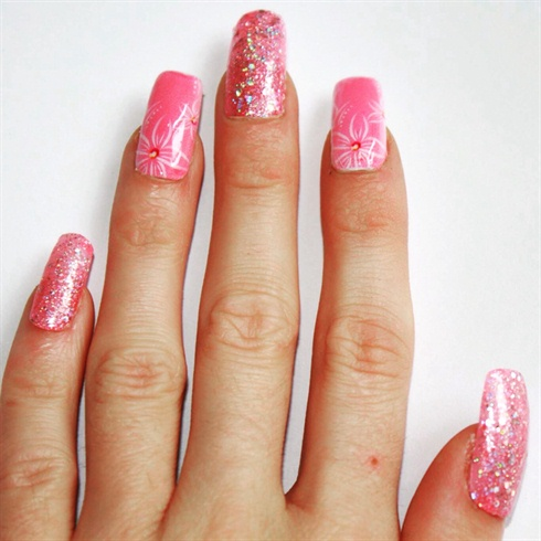 pink flowers nail art/pink glitter  nail art gallery