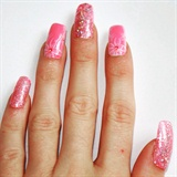 Pink Flowers Nail Art/Pink Glitter