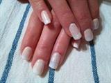 Beige & White Ombre Glitter Nails
