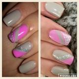 Grey & Pink Nail Art
