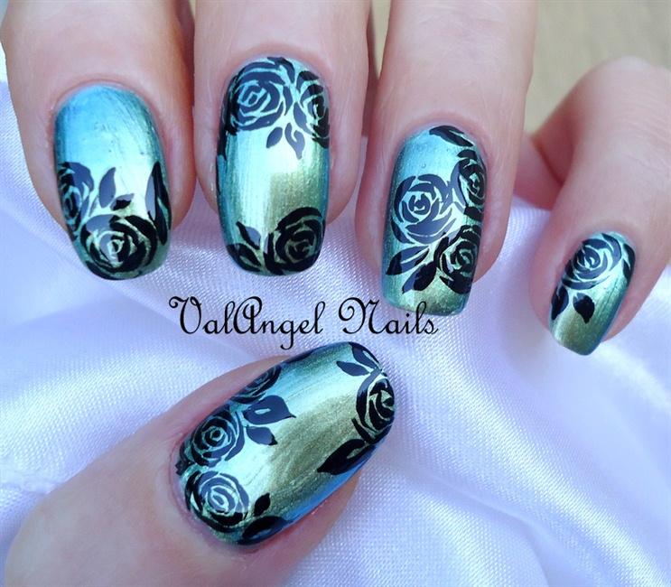 Nail art black roses nail art gallery prinsesfo Images