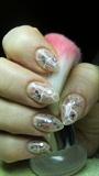 Beige nails with rhinestones