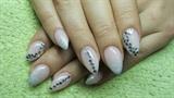 Powder pink nails with rhinestones