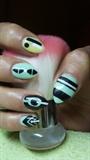 Green and yellow nails- Abstract nails