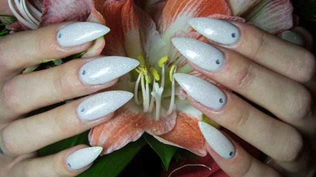 white stiletto nails with glitter nail art gallery