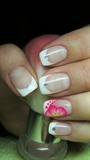 French manicure with a flower