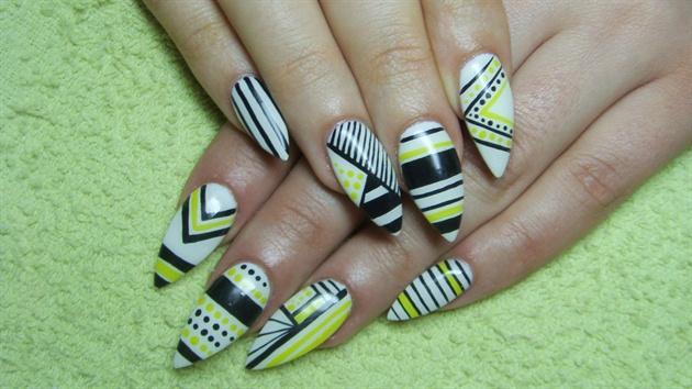 White, black and yellow stiletto nails