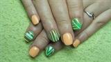 Short green and orange nails